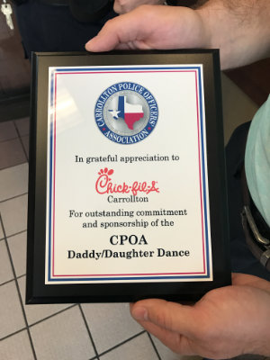 CPOA Chick fil a plaque